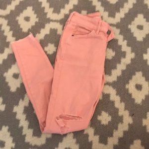 old navy pink ripped skinny jeans